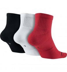 Pack 3 Paires de chaussettes mi hautes Jordan blanc noire rouge