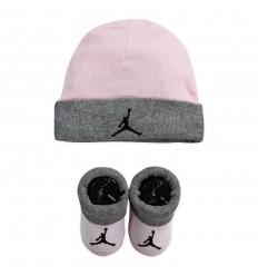 Combo Jordan naissance Bonnet Chaussettes rose et gris