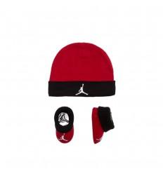 Combo Jordan naissance Bonnet Chaussettes rouge et noir