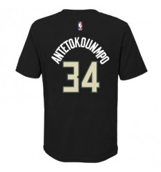 T-Shirt Name and Number Giannis Antetokounmpo statement noir junior